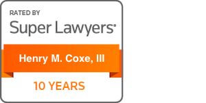 super lawyers badge for henry m. coxe, iii 10 years
