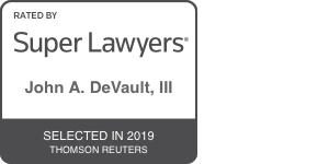 super lawyers badge for john a. devault, iii 2019