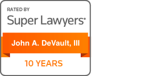 super lawyers badge for john a. devault, iii 10 years