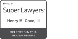 super lawyers badge for henry m. coxe, iii 2019