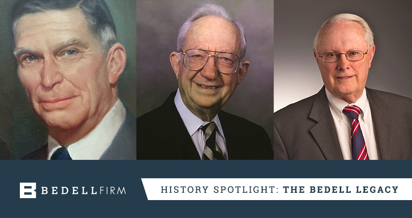 Portraits of all leaders of the Bedell Firm over the years. Text: History Spotlight: The Bedell Legacy